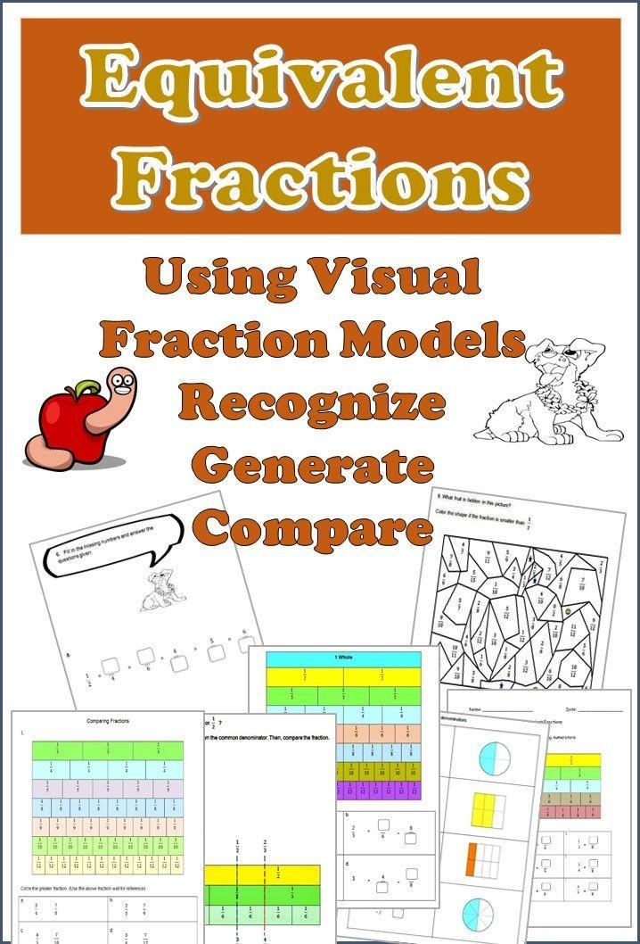 Fractions Worksheets Bundle 3rd 4th Grade Using Equivalent