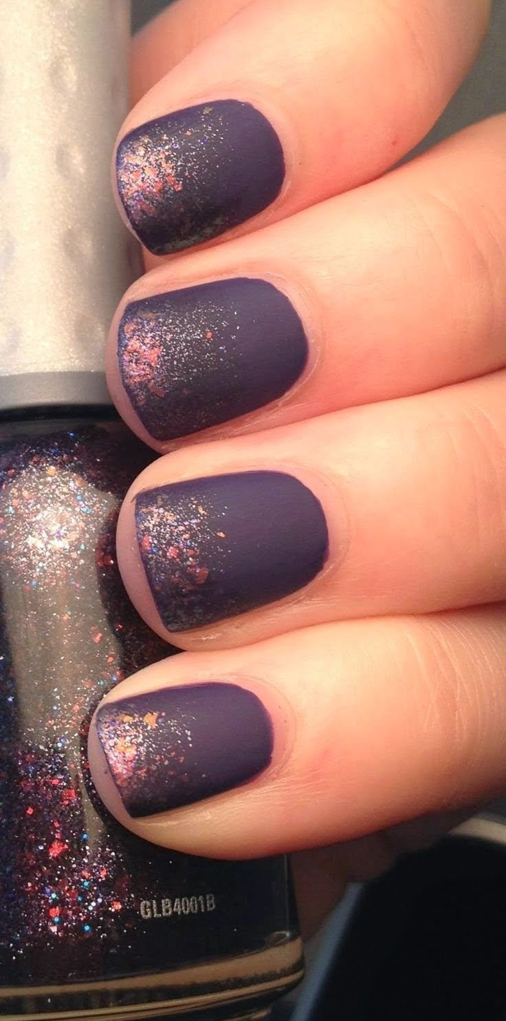 Pretty Short Purple Nails with Speckled Flakes | Nail trends, Purple ...