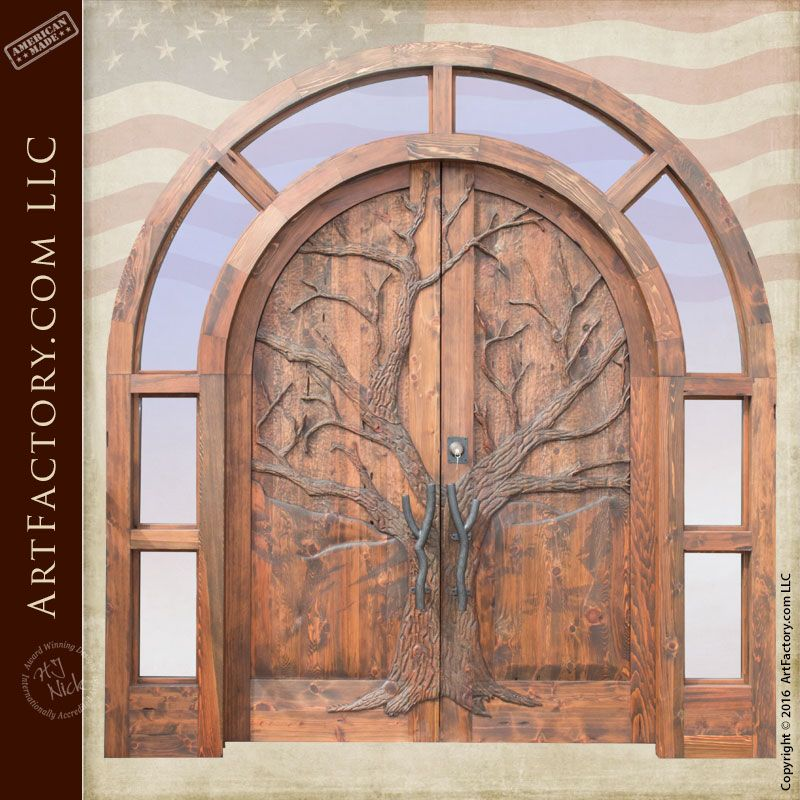 Grand entrance door with carved tree full sidelights for Grand entrance doors
