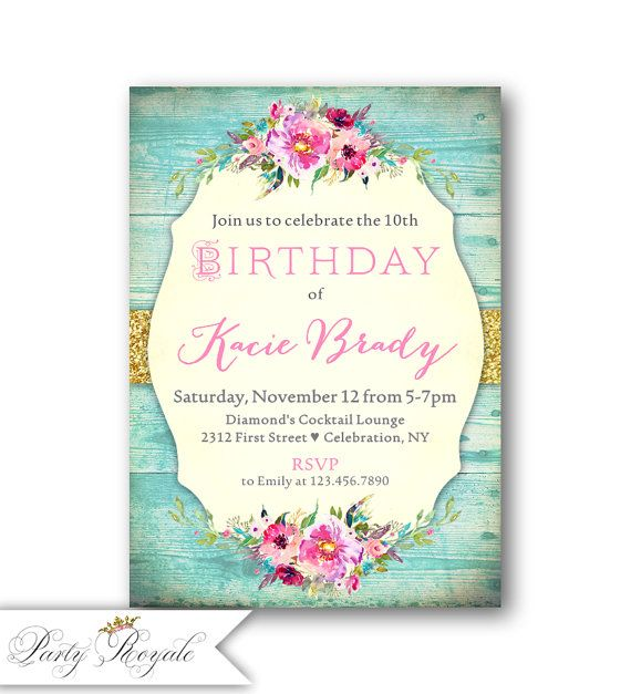 shabby chic girls birthday invitations 10th birthday invitations