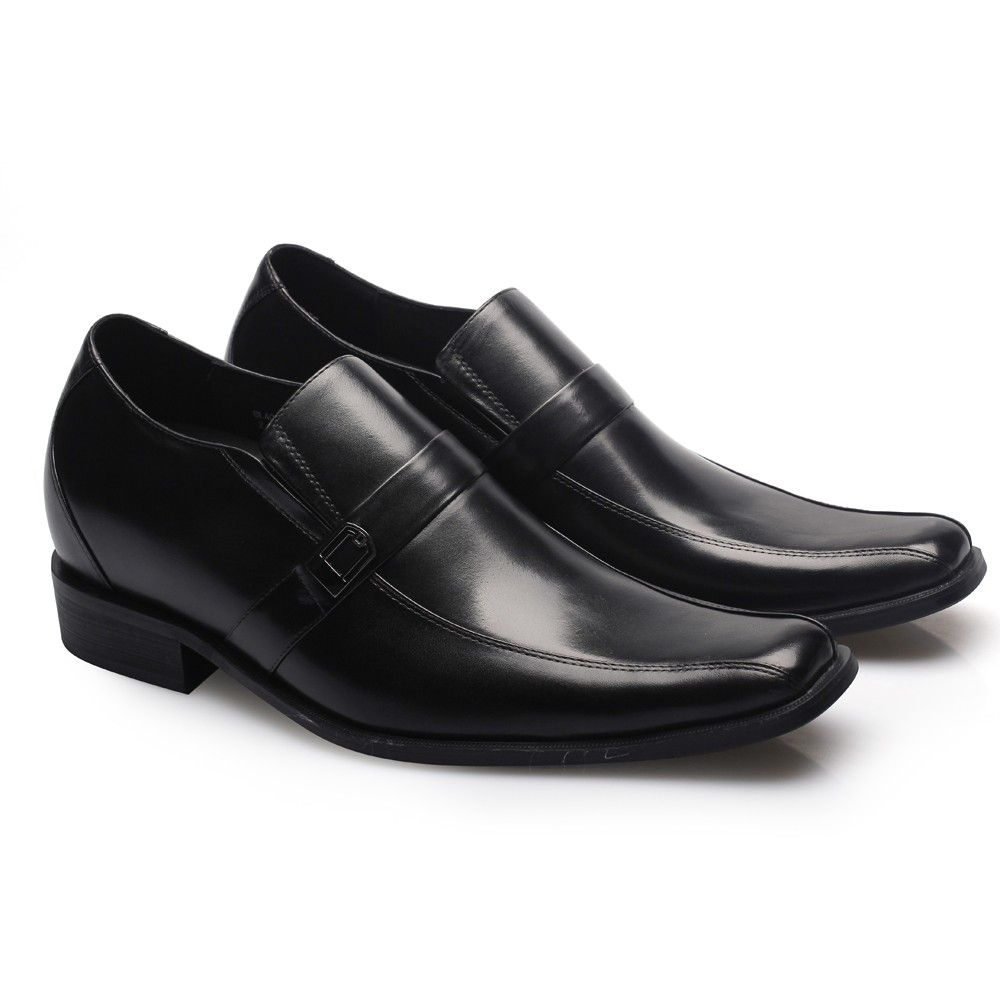 black leather lifted dress shoes for men increased height