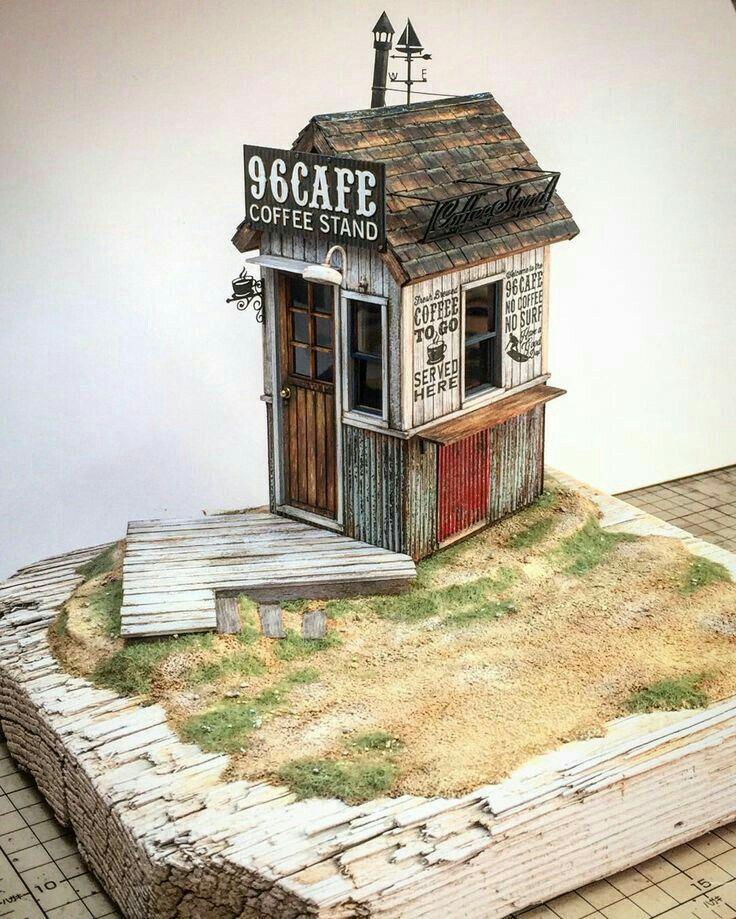 Small Coffee Stand 1 24 Scale W I P By Doozy Okugawa Doozy Modelworks Diorama Miniature House Miniature Houses Miniature House Model Train Scenery