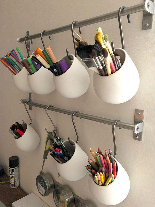 Pots à crayons en suspension : Il y a de l\'astuce dans vos ...