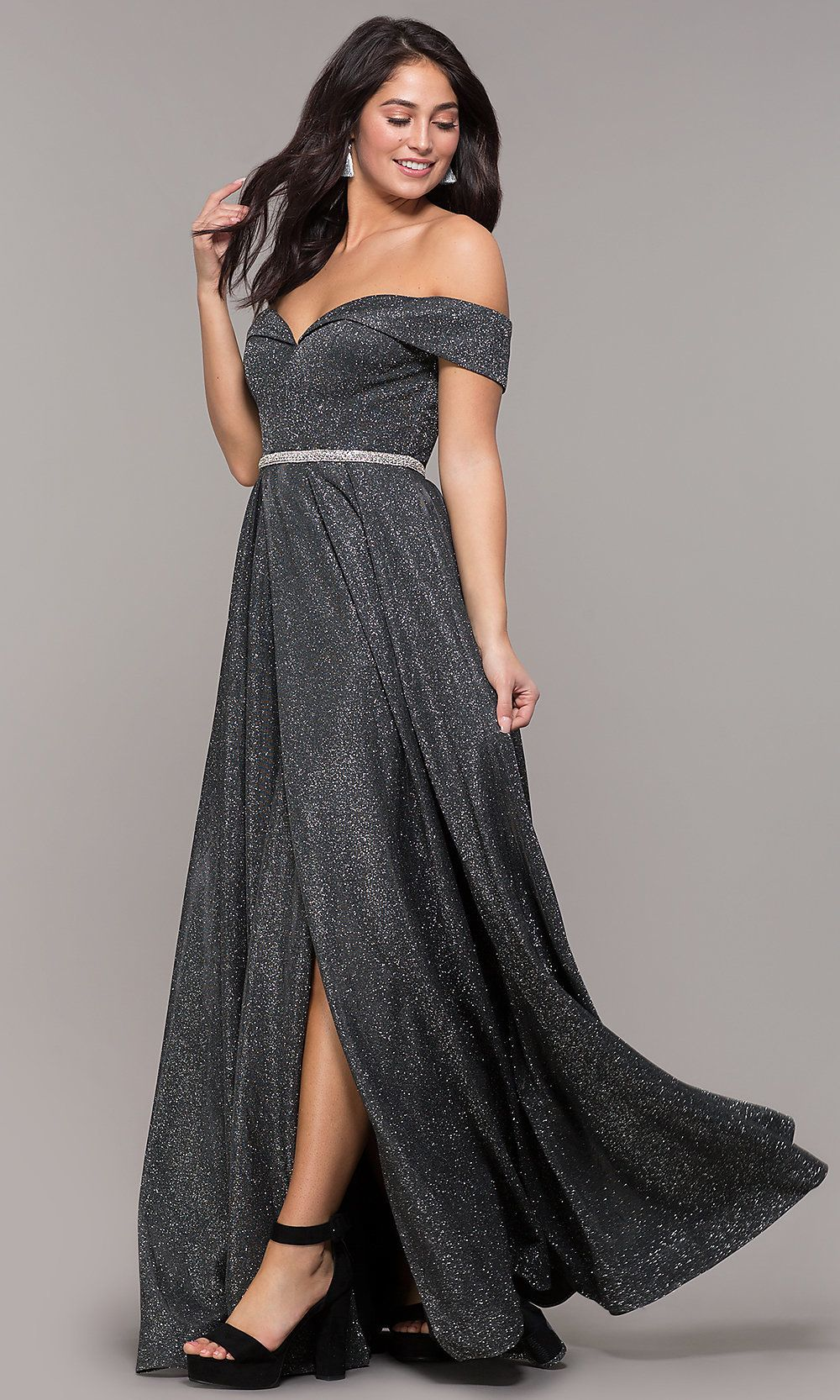 Off-the-Shoulder Long Faux-Wrap Sparkly Prom Dress
