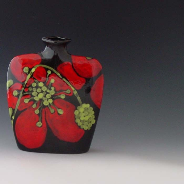 Flower Vase Red Poppy Envelope Vase Floral Vase Ceramic Vase Modern