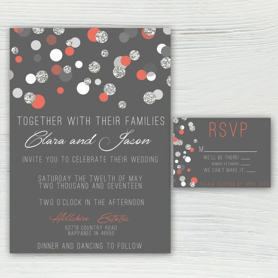 Coral Silver And Gray Sparkle Polka Dot Wedding Invitation All
