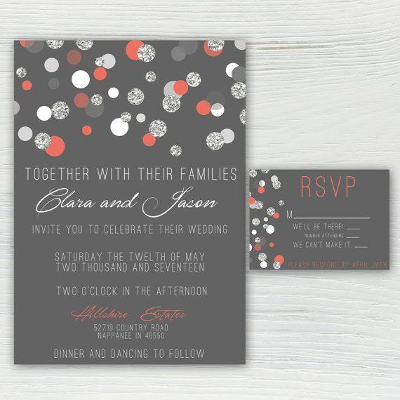 Coral Colored Wedding Invitations: Coral Silver And Gray Sparkle Polka Dot Wedding Invitation