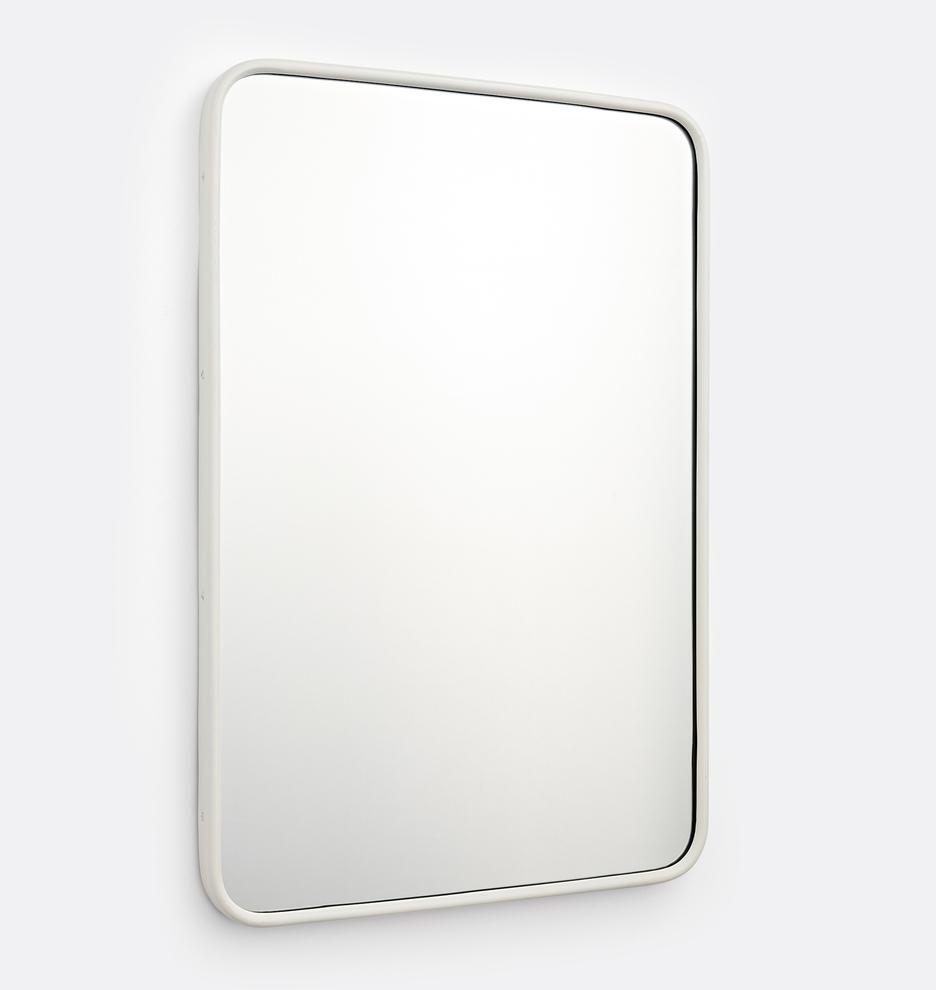 20 X 30 Thunder Blue Rounded Rectangle Modern Powder Coated Framed Mirror Rejuvenation Metal Frame Mirror Painted Metal Frame Rectangle