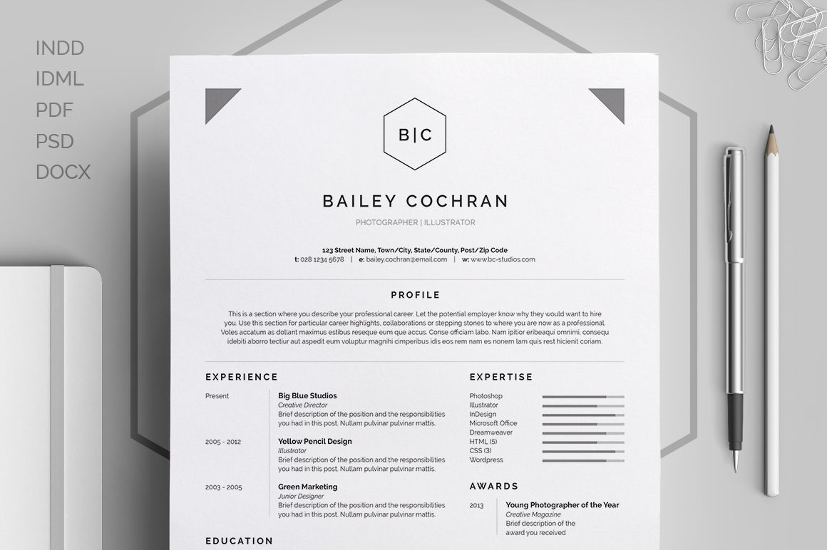 ResumeCv  Bailey By Bilmaw Creative On Creative Market  Resume