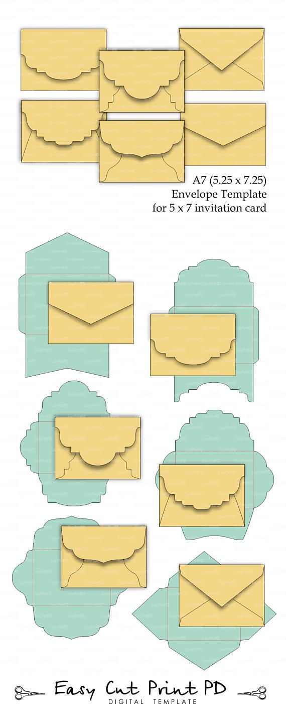 set of 6 a7 5 25 x 7 25 envelope template for 5x7 invitation