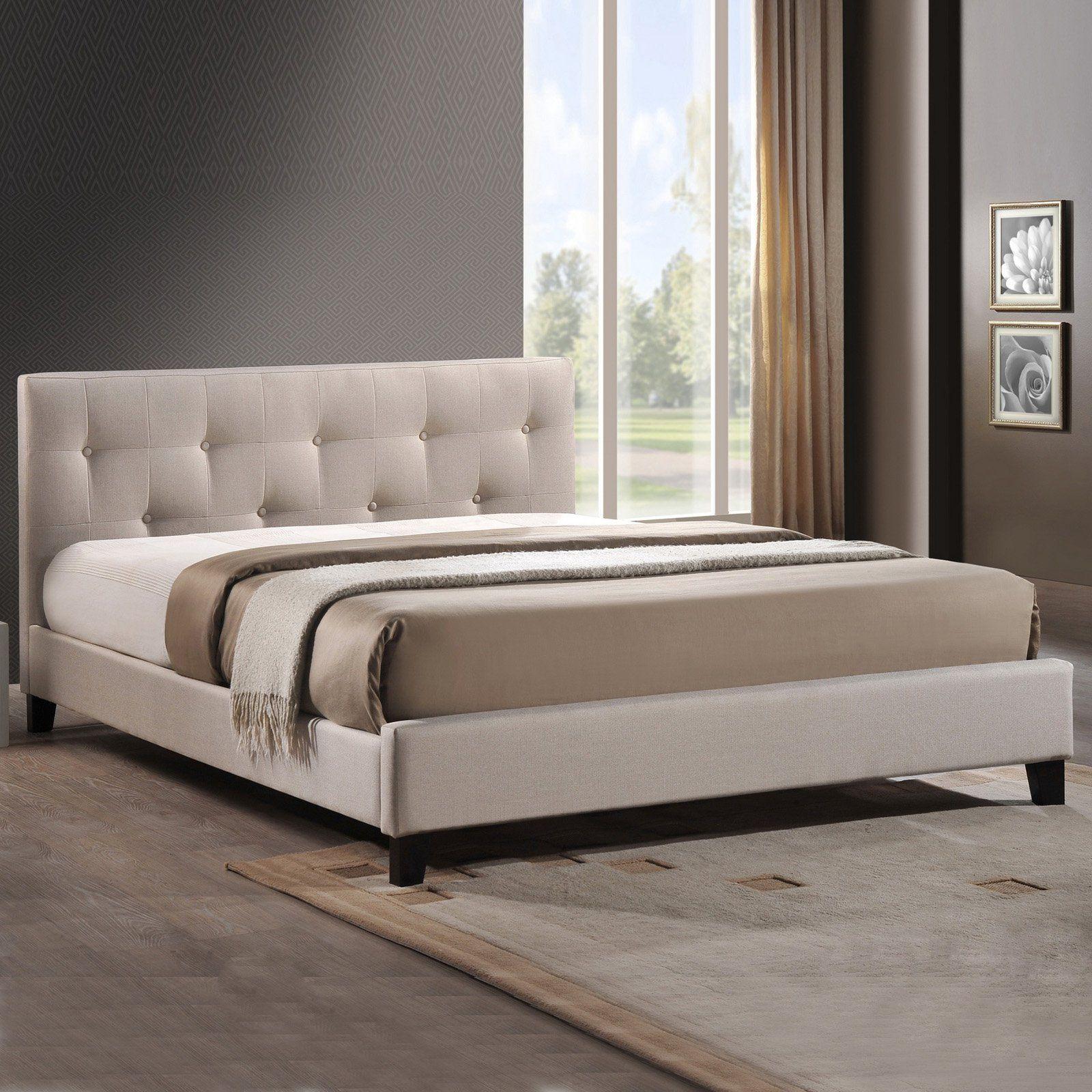 Harriette Platform Bed - The Harriette Linen Modern Bed with Covered ...