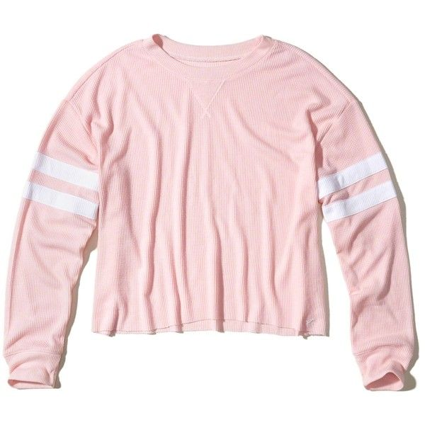 78839927 Hollister Must-Have Oversized Waffle T-Shirt ($25) ❤ liked on Polyvore  featuring tops, t-shirts, pink, crew-neck tee, oversized pink t shirt, crew  neck t ...