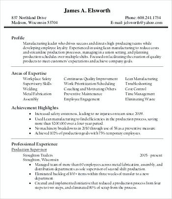 Production Manager Resume Format  Product Manager Resume Template