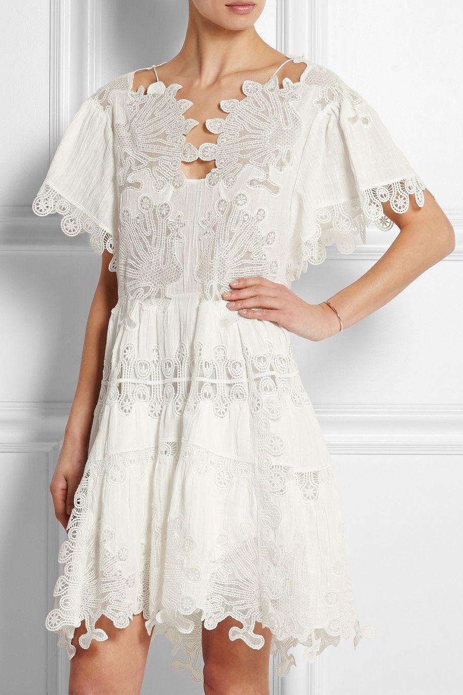 Chloe Guipure Lace And Plisse Muslin Dress [ 1380 x 920 Pixel ]