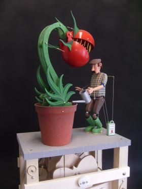 cool little shop of horrors style art automata Killer Tomata | Keith Newstead Automata