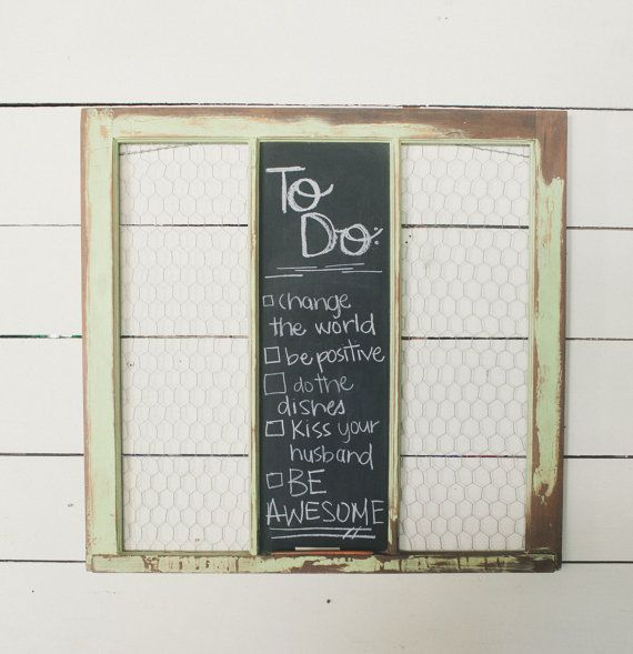 Old Rustic Reclaimed Antique Window Frame with Chalk Board and ...