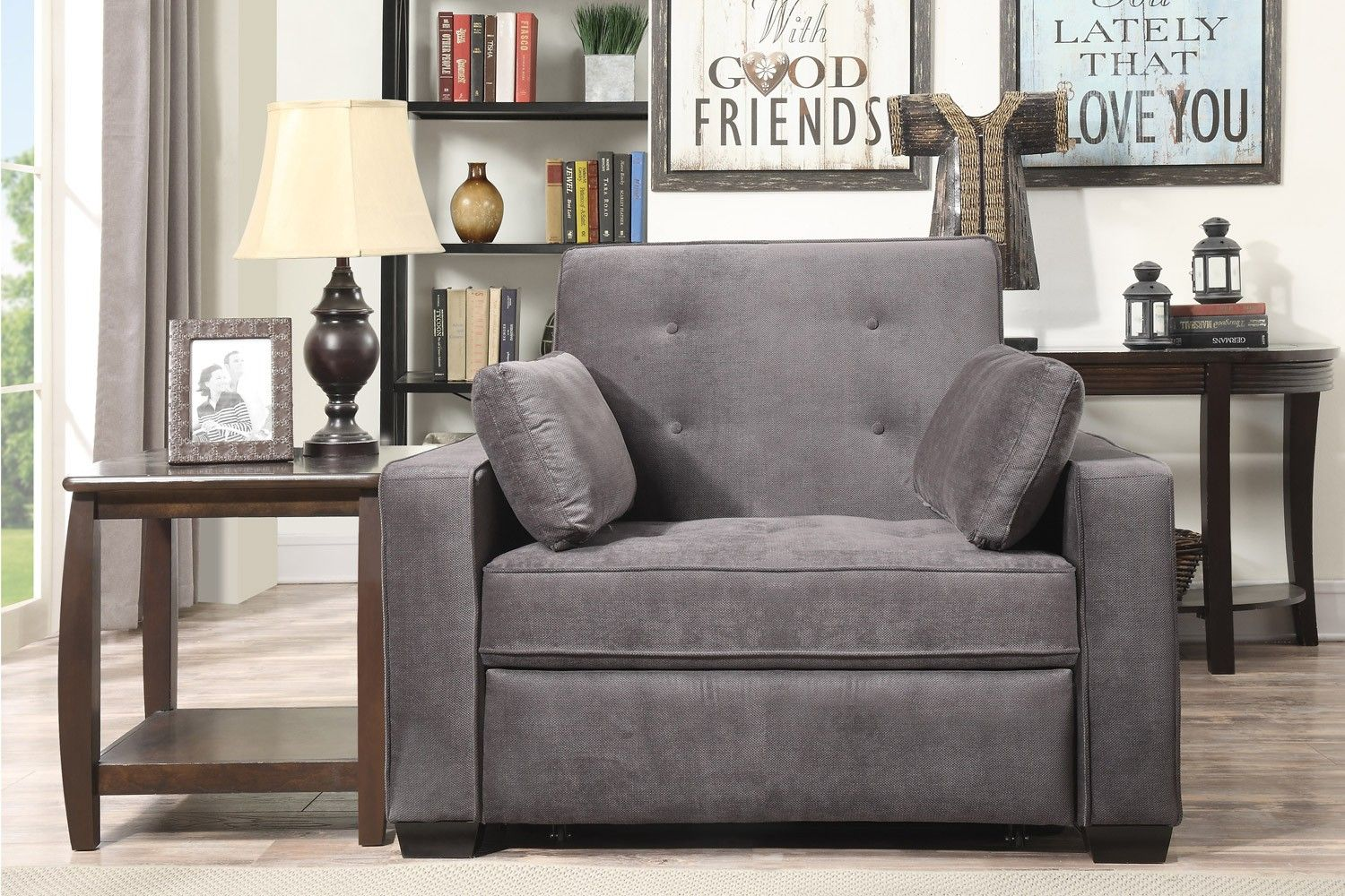 Serta Augustine Upholstered Modern E Saving Futon Sofa Bed Chair