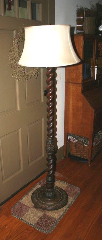 Antique Oak Floor Lamp Barley Twist Vintage Turned Wood Englishbarleytwist Us 799 00