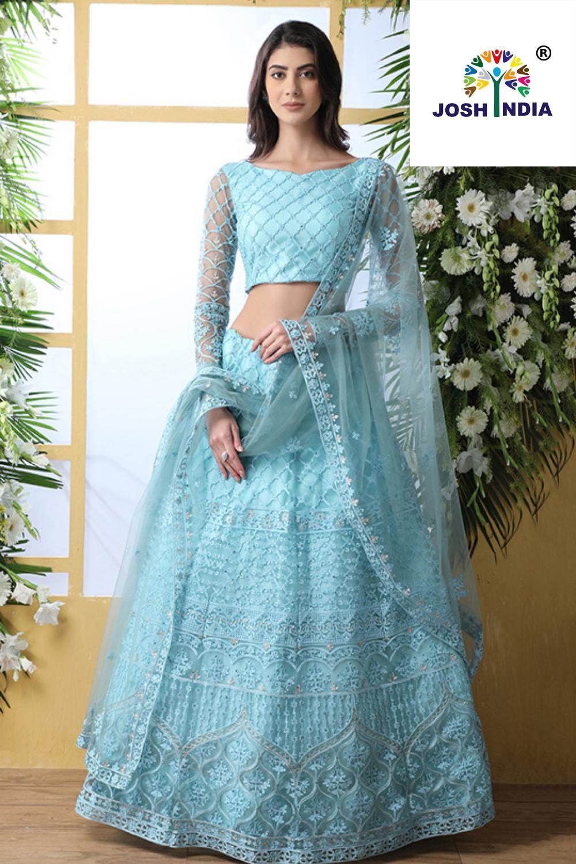 Latest Simple Unique Light Blue Net Lehenga And Light Blue Color Choli With Shrug For Pa In 2020 Party Wear Lehenga Party Wear Indian Dresses Designer Lehenga Choli