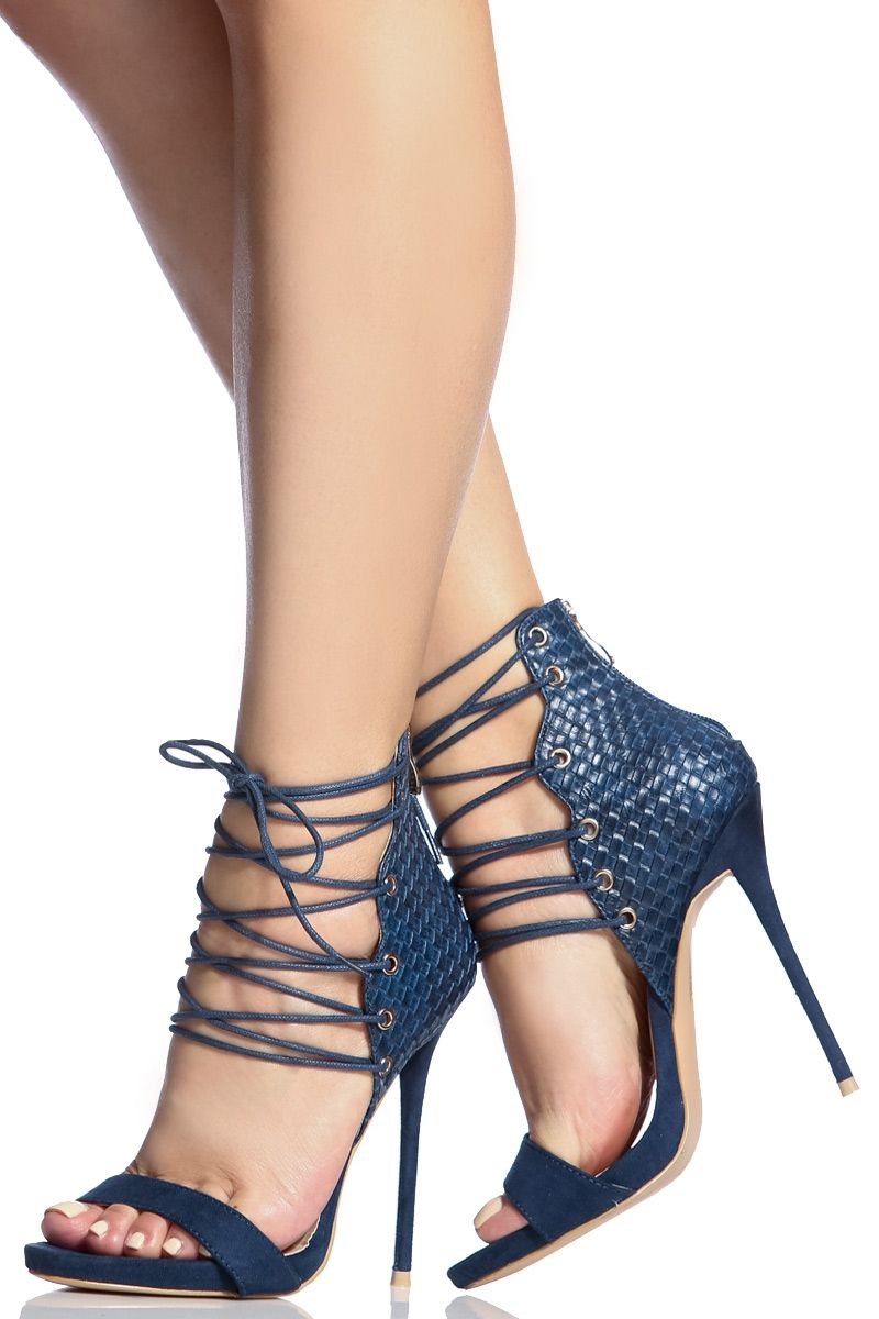 Navy Faux Suede Lace Up Single Sole Stiletto Heels Cicihot Heel Shoes Online Store Sales Stiletto Heel Shoes High Heel Pumps Womens Fabulous Shoes Hochh [ 1200 x 800 Pixel ]