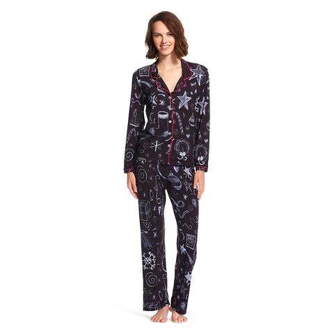 Daizies by Flowers by Zoe Chalkboard Pajama Coatset Black