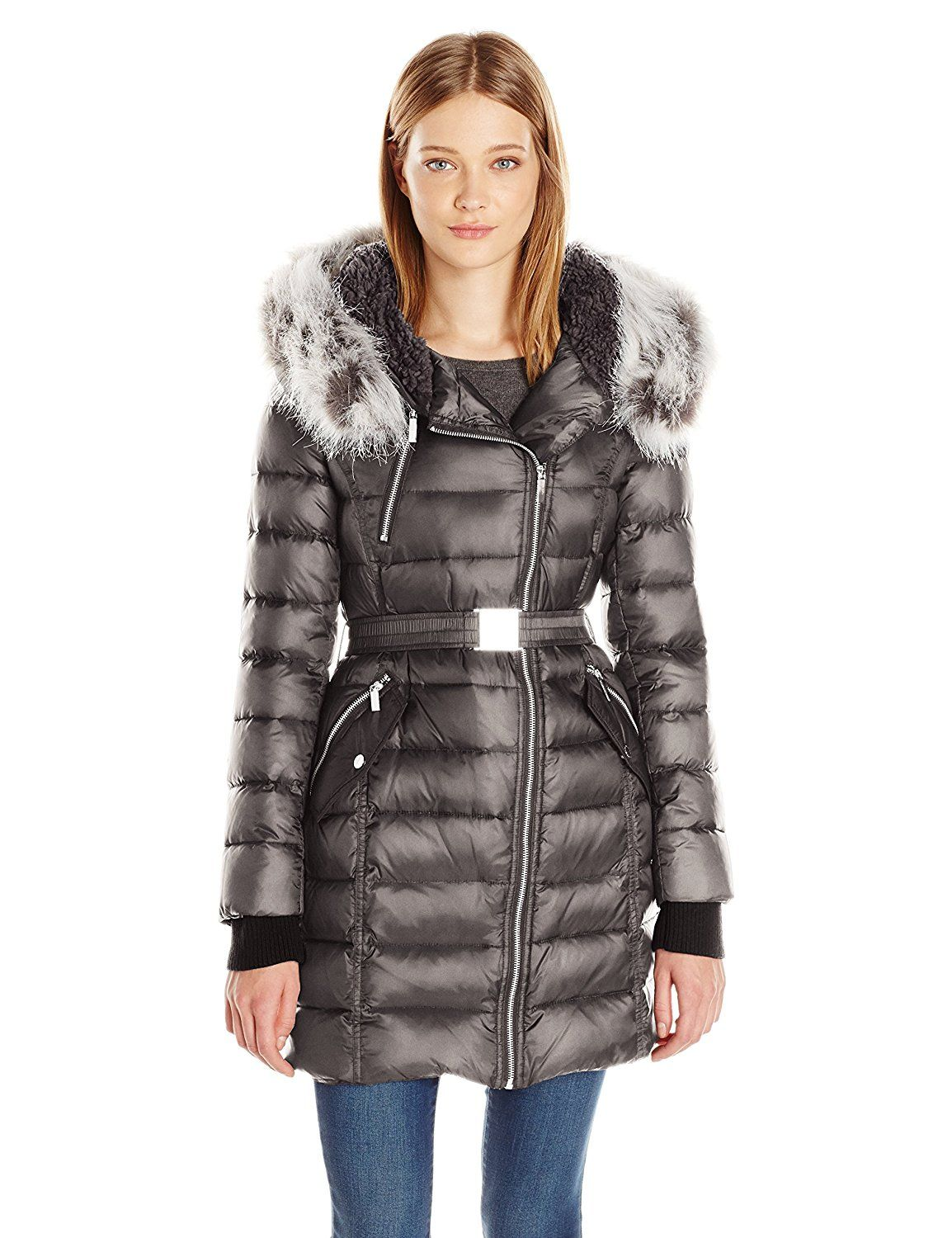 d309eaa8d French Connection Women's Down Coat with Belt and Sherpa Lined Faux ...