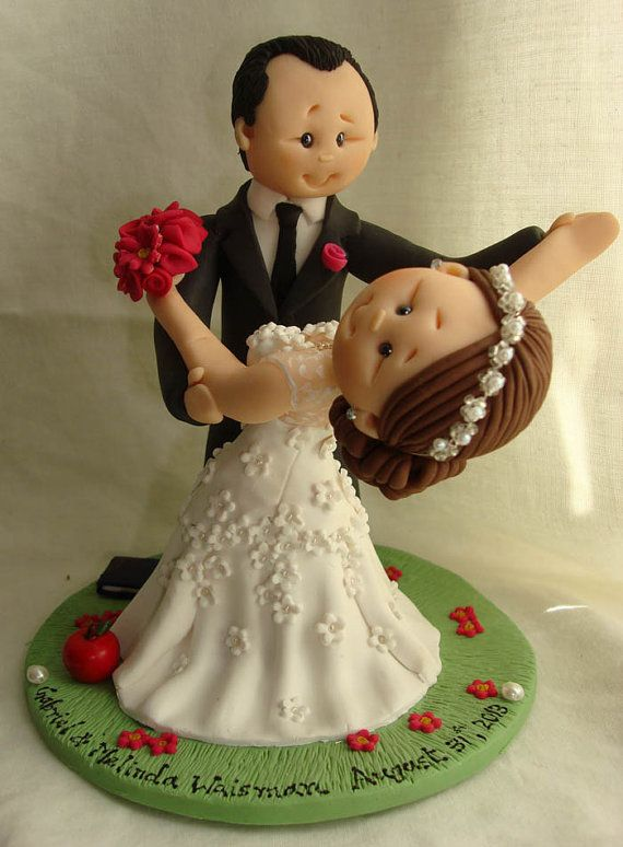 Personalised bride and groom wedding cake by ALittleRelic on Etsy, £105.00