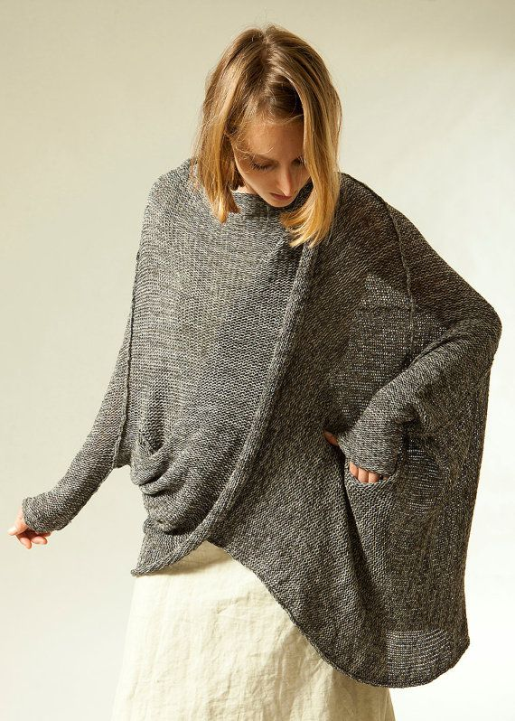 46a5b24ea Gray knit sweater coat women oversize jacket Plus by TOOSHAAYA
