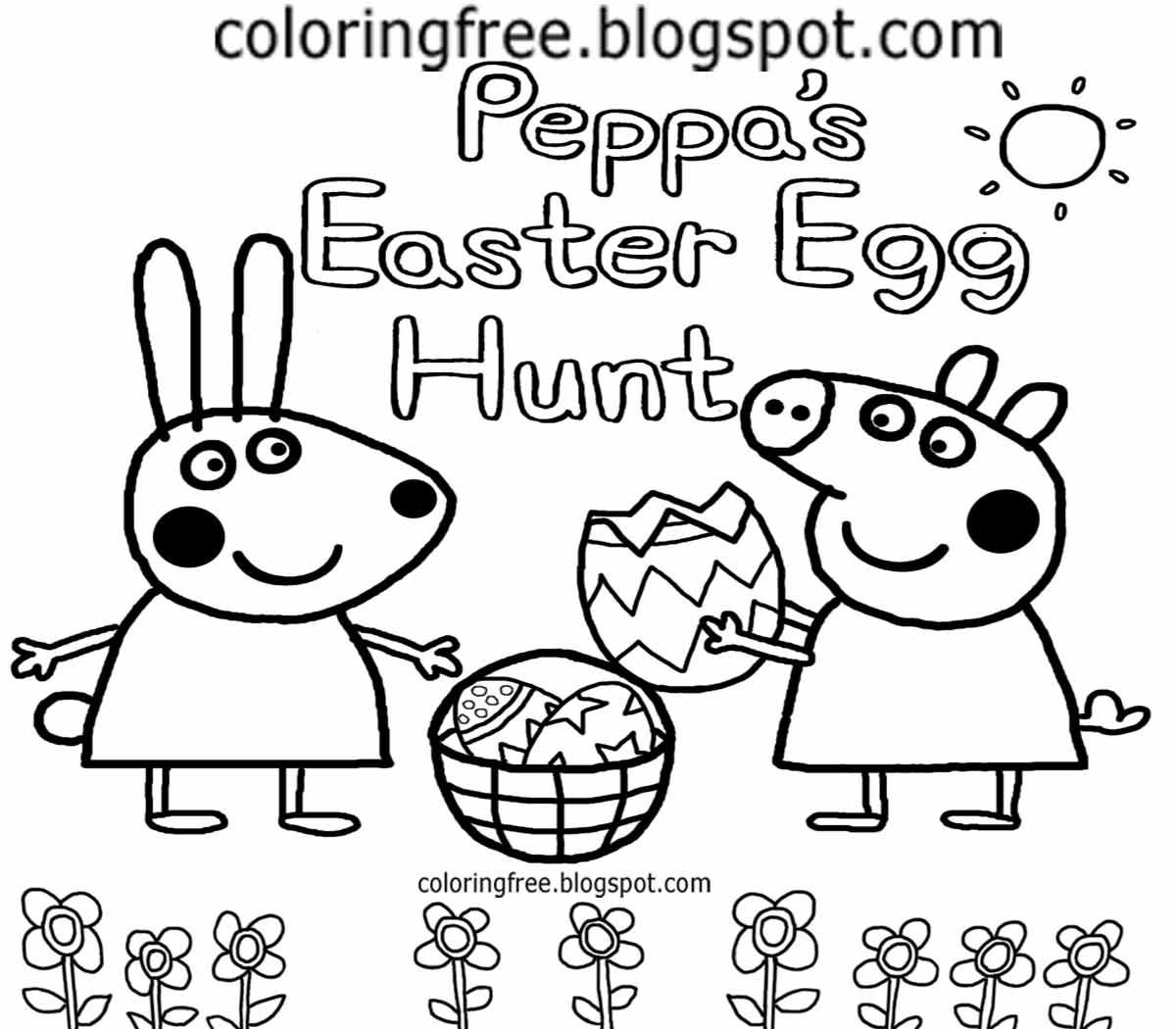 Pin by Sandy on Peppa Pig | Easter coloring pages, Bunny ...