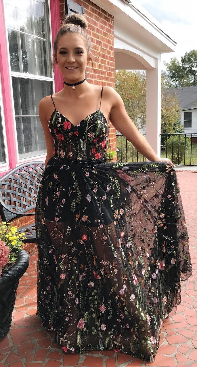 Unique Straps Black Floral Long Prom Dress Party Dress Robes