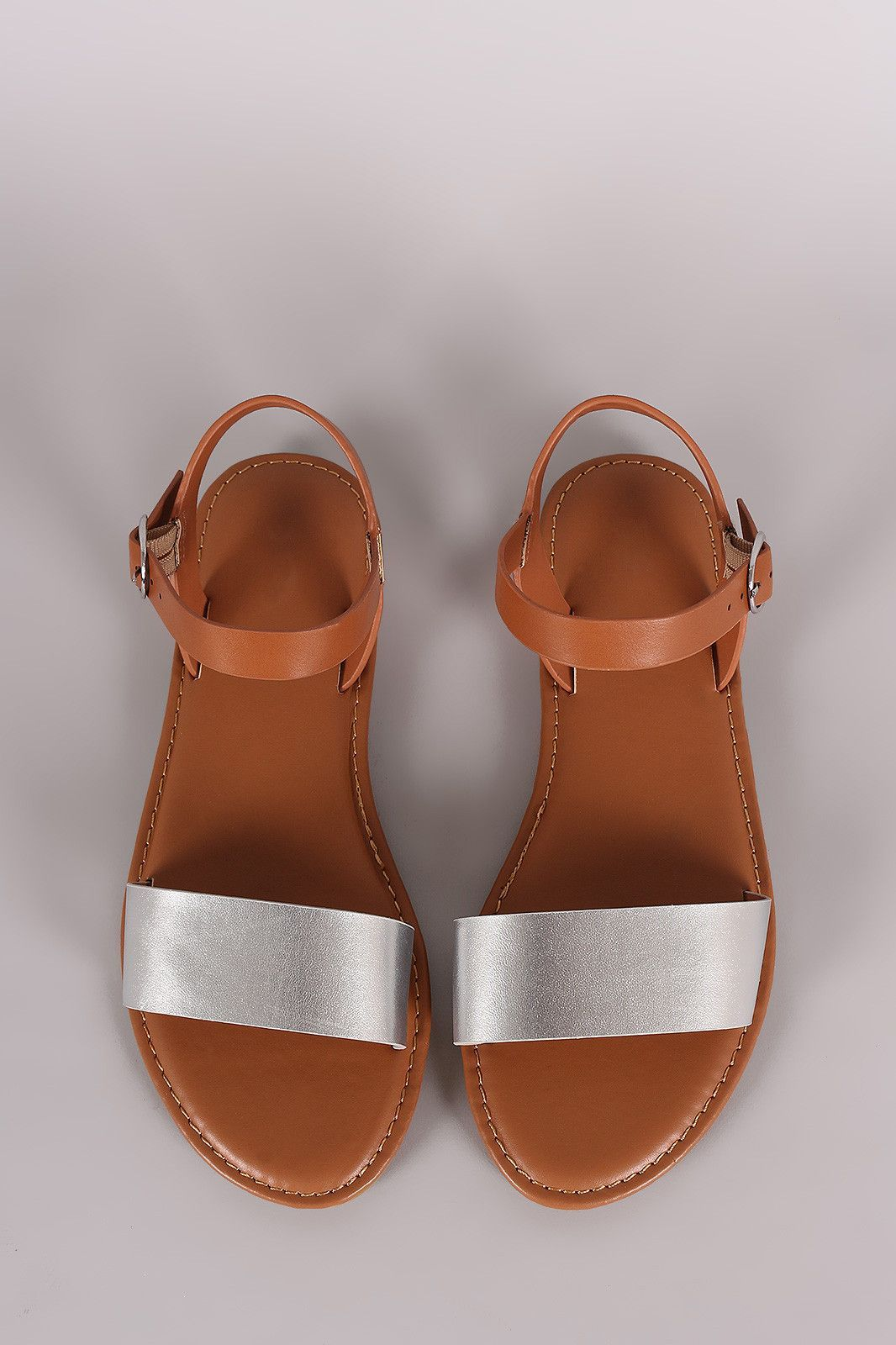 86c506efe Bamboo Two Tone Ankle Strap Flat Sandal