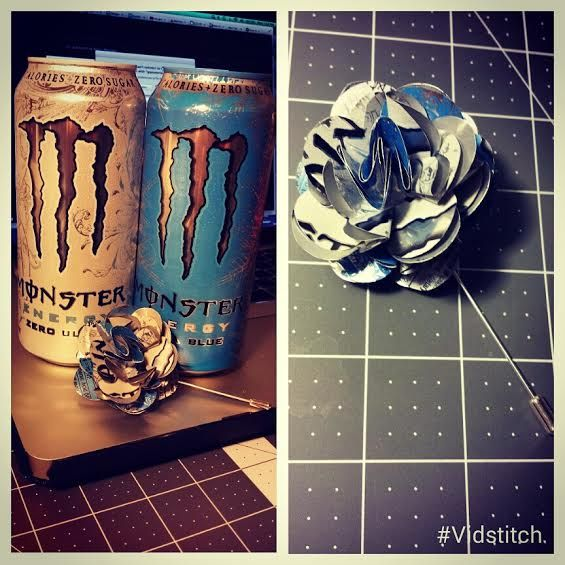 Lapel Flower Made From Upcycled Monster Zero Ultra And Ultra Blue Energy Drink Can Monster Energy Drink Lapel Flower Flower Making