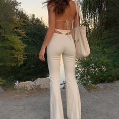 INDIE AESTHETIC BACK TRIANGLE PANTS - White / M