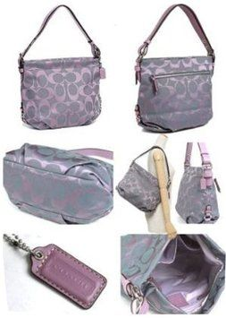 Coach Signature Tote Fabric Lilac Purple Jacquard Cross Body