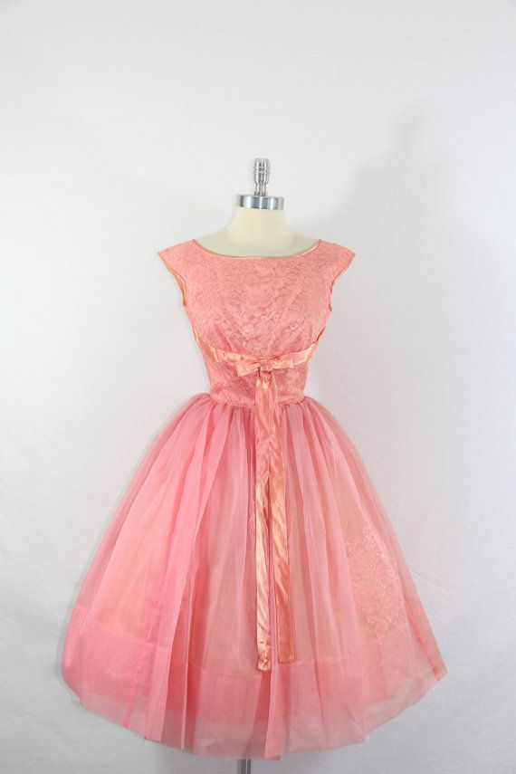 1950\'s Party Dress - Vintage Honeysuckle Chiffon and Lace and Satin ...