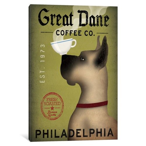 Icanvas Great Dane Coffee Co Gallery Wrapped Canvas Art Print By