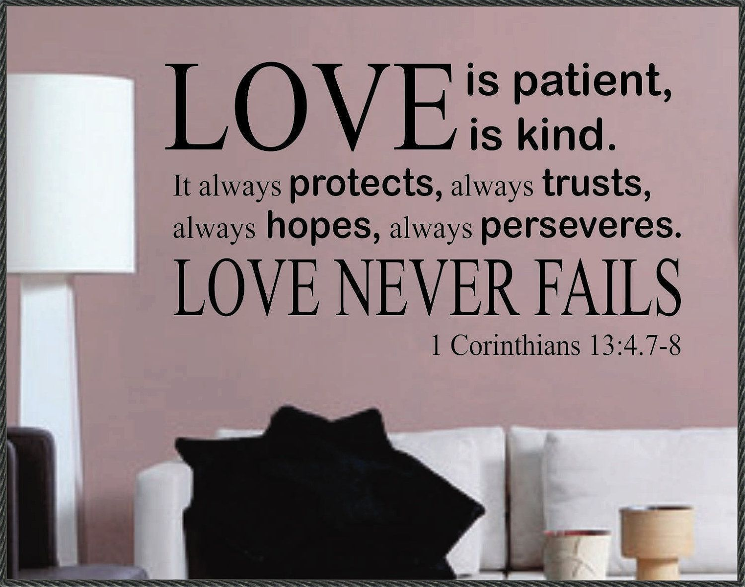 Love Is Patient Love Is Kind Vinyl Decal Wall Sticker Words Lettering Letters