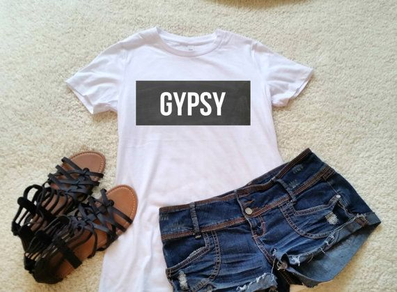 Gypsy t-shirt in white or black size s med large and by StarrJoy16