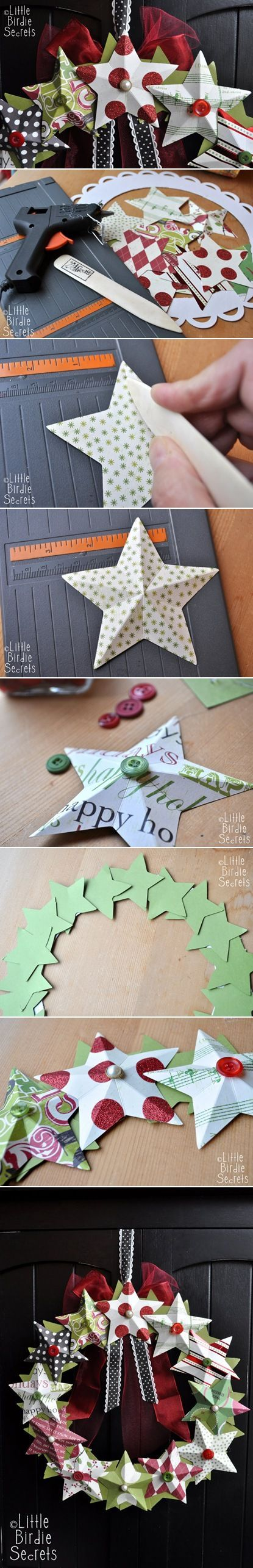 3D paper star wreath tutorial ... plethora of patterned paper stars with button centers ... wonderful!: