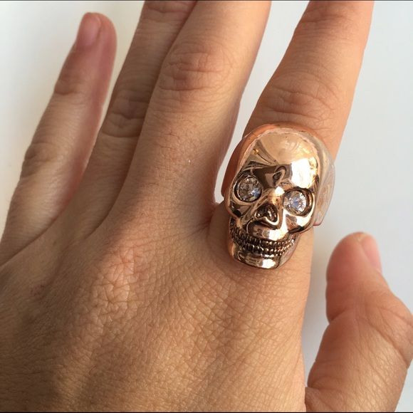 WILDFOX SZ 7 ROSE GOLD MORT RING SKULL New Wildfox Jewelry Rings