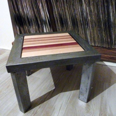 Little stool made of multicolored woods and metal