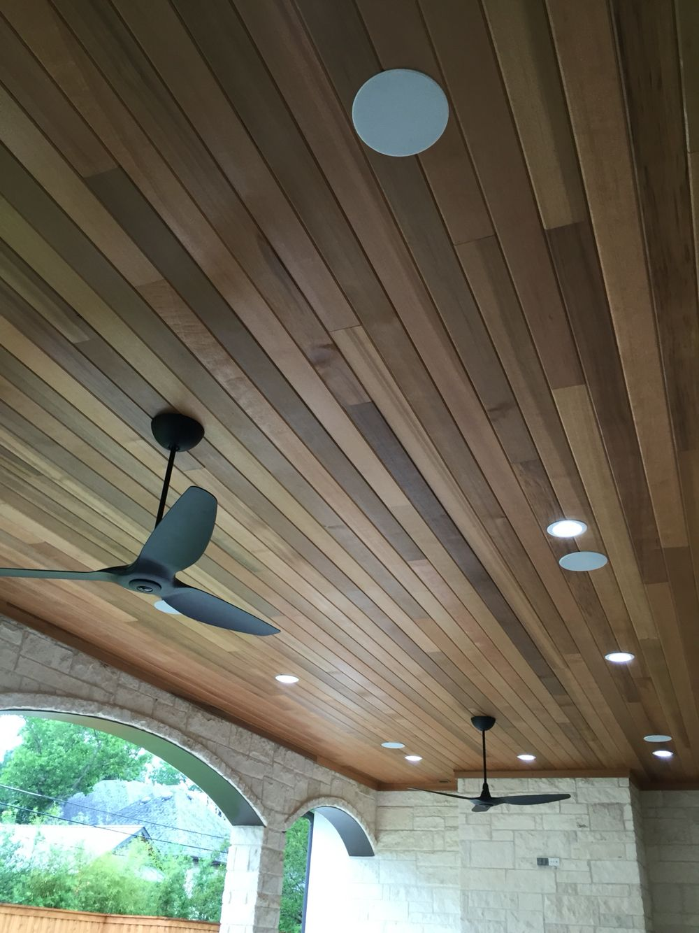 In Ceiling Speaker In A Pine Ceiling Outdoor Living Area