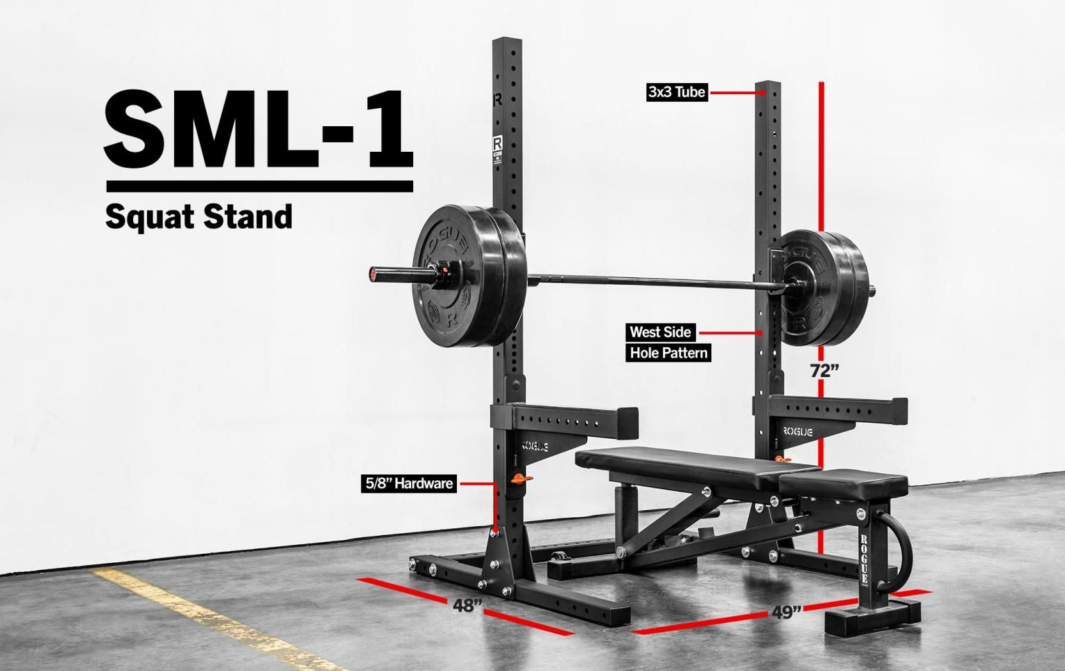 "SML1 Rogue 70"" Monster Lite Squat Stand 2014 CrossFit"