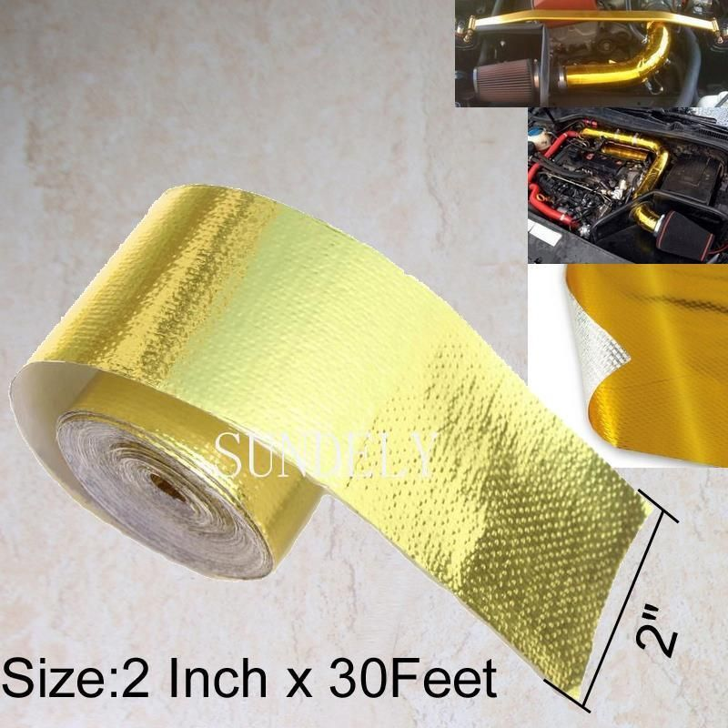 """2/""""x30/' Roll Self Adhesive Reflective Gold High Temperature Heat Shield Wrap Tape"""