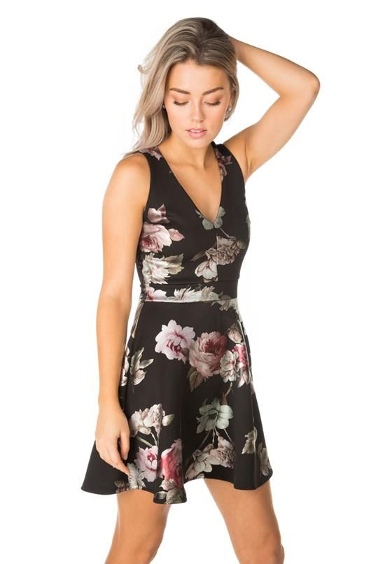 Foil Floral Skater Dress with Back Lace Trim in 2019  ae2d1f9d9