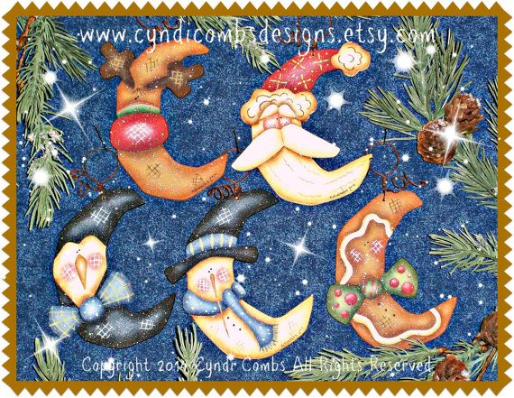 CC168  Wynter Thyme Moon Ornaments Painting E por CyndiCombsDesigns