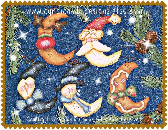 CC168  Wynter Thyme Moon Ornaments Painting E por CyndiCombsDesigns