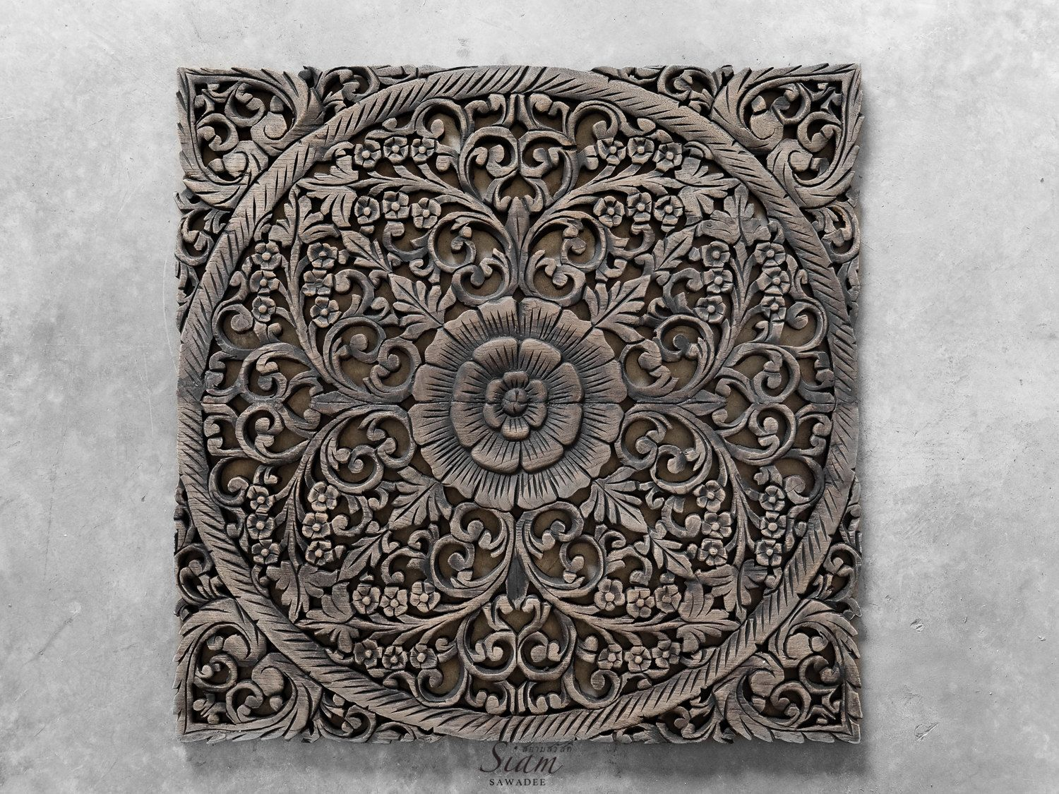 Rustic Wood Carving Wall Art Hanging Thai Hand Carved Lotus Relief