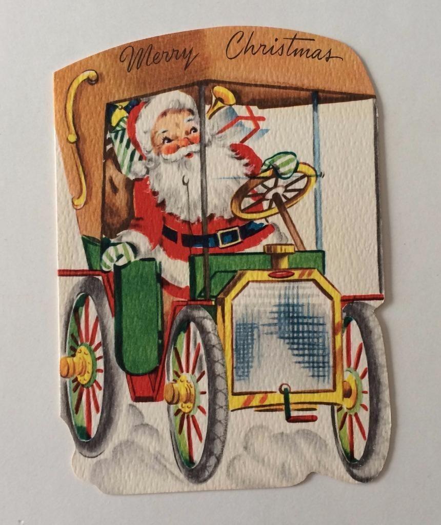 Vintage Santa Claus Driving old Car Christmas Greeting Card ...