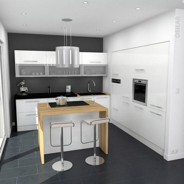 Idée relooking cuisine \u2013 Cuisine blanche moderne finition brillante